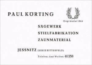 An advertising of the trading compamy Körting